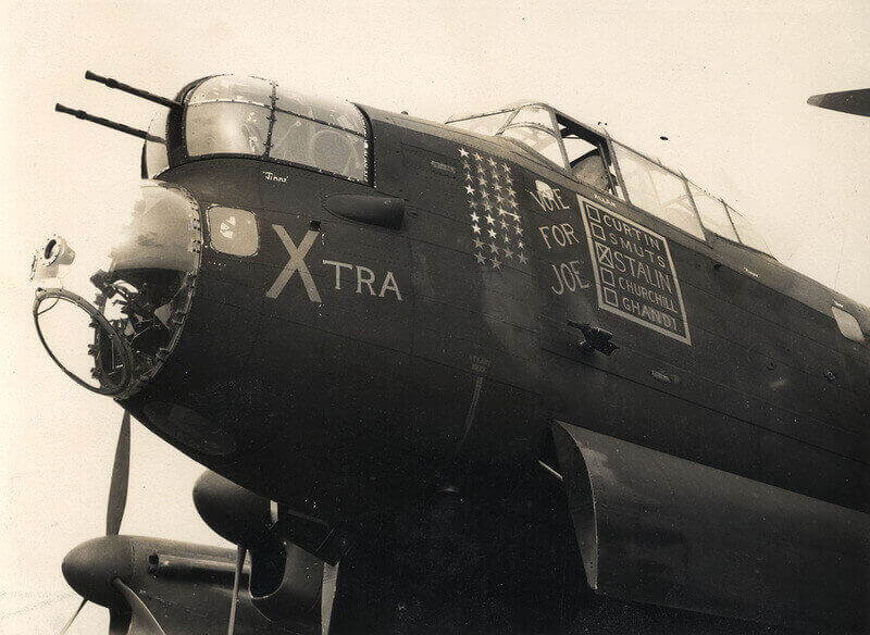 Avro Lancaster heavy bomber with Australian crew. [The inscription is self-explanatory]