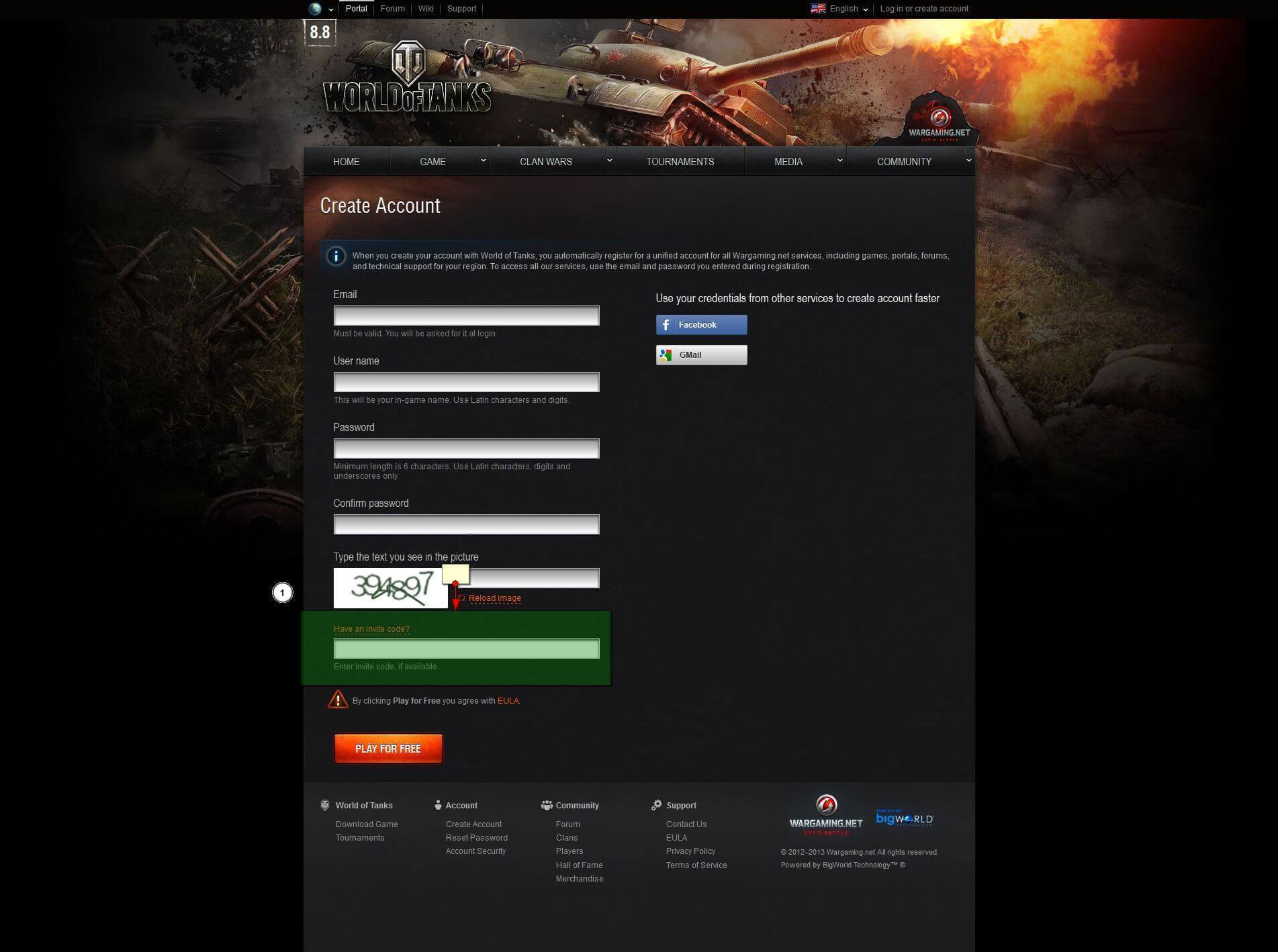 How do I use the bonusinvite code that I got World of Tanks